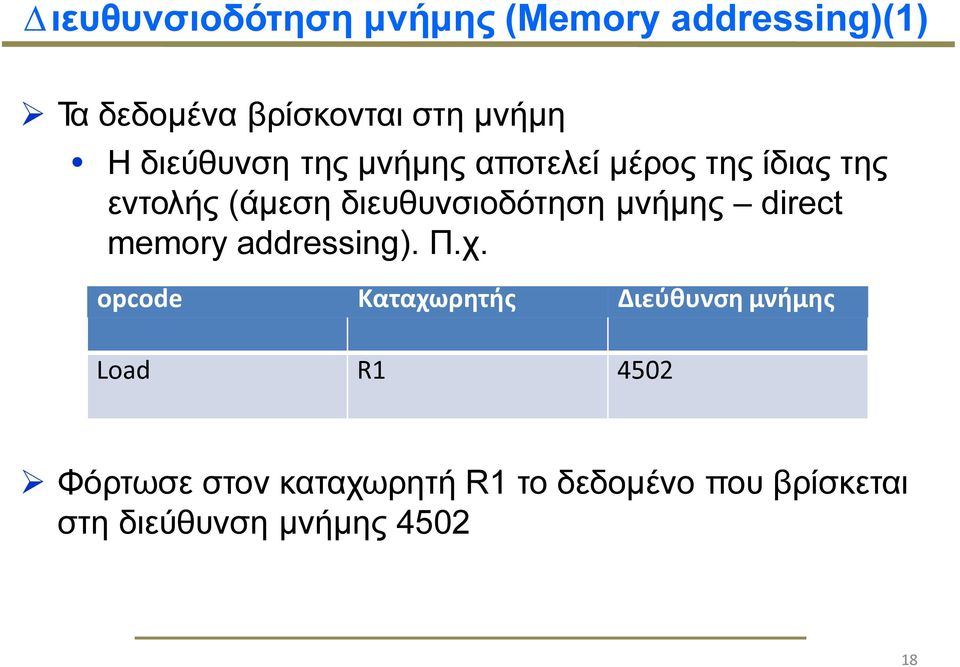 µνήµης direct memory addressing). Π.χ.