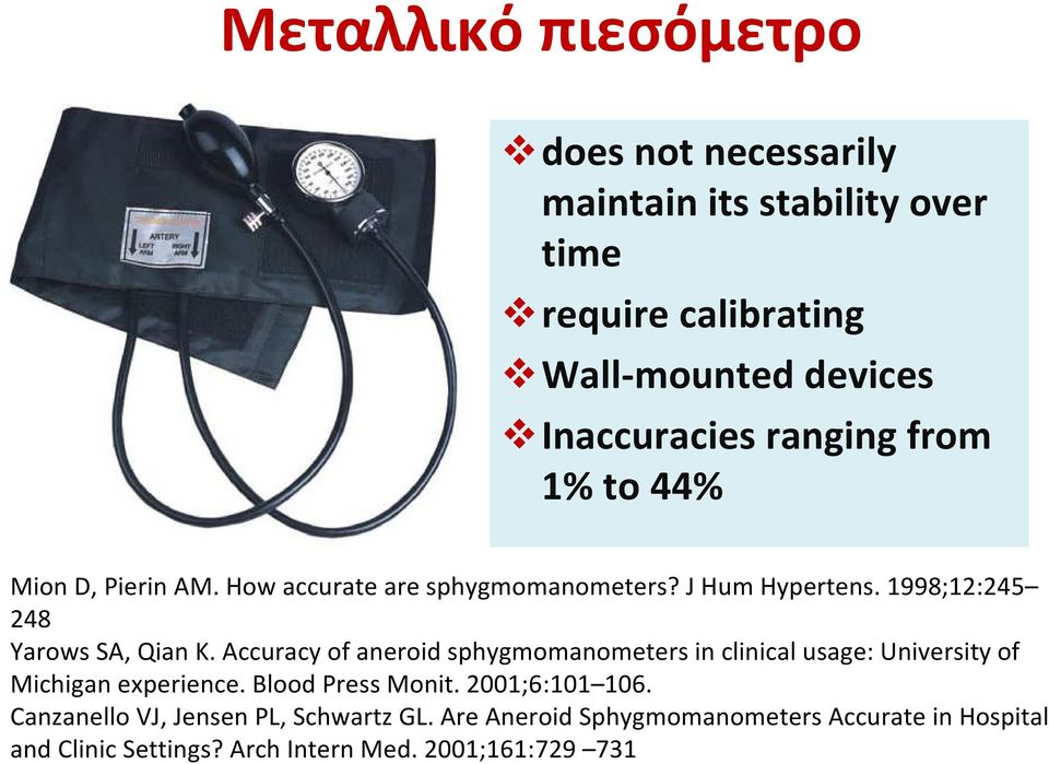 Accuracy of aneroid sphygmomanometers in clinical usage: University of Michigan experience. Blood Press Monit. 2001;6:101 106.