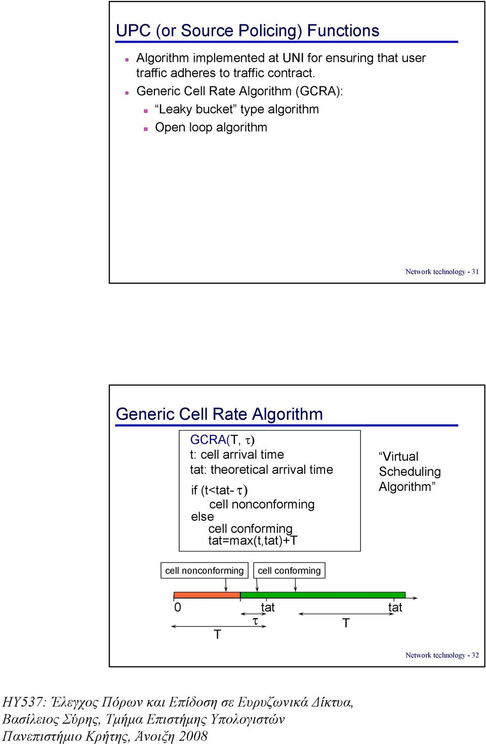 Rate Algorithm GCRA(T, τ) t: cell arrival time tat: theoretical arrival time if (t<tat- τ) cell nonconforming else cell