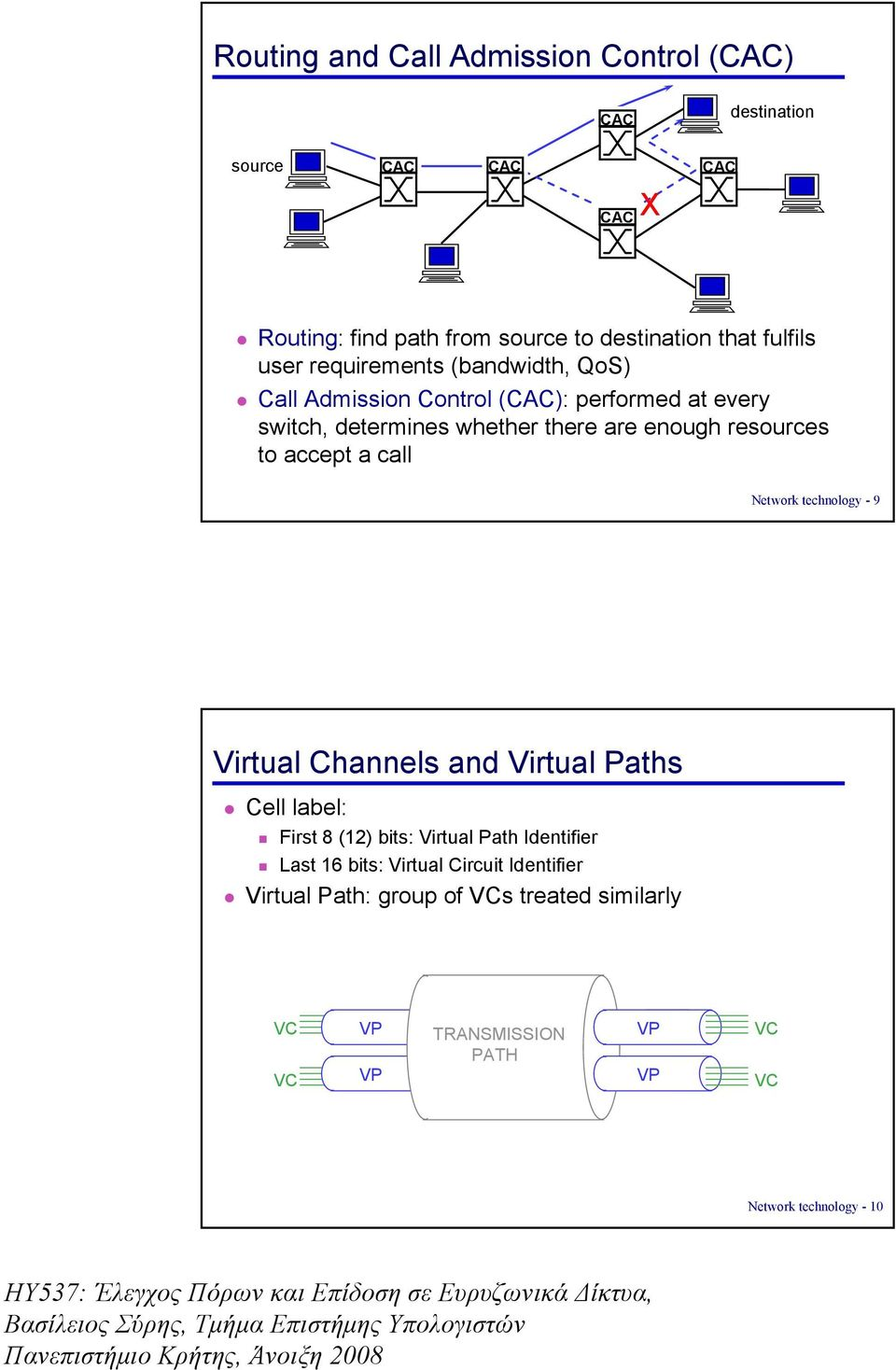 resources to accept a call Network technology - 9 Virtual Channels and Virtual Paths Cell label: First 8 (12) bits: Virtual Path Identifier