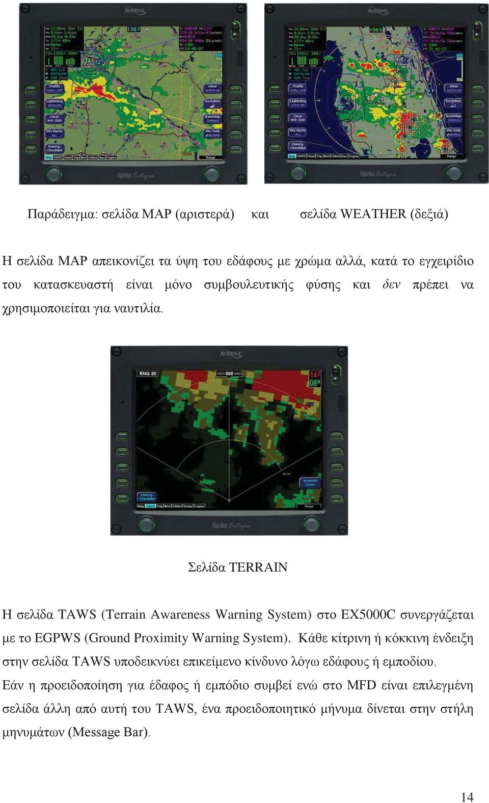 Σελίδα TERRAIN Η σελίδα TAWS (Terrain Awareness Warning System) στο EX5000C συνεργάζεται με το EGPWS (Ground Proximity Warning System).