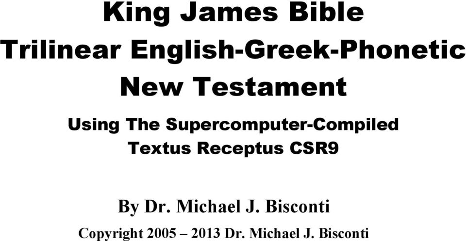 Supercomputer-Compiled Textus Receptus CSR9 By