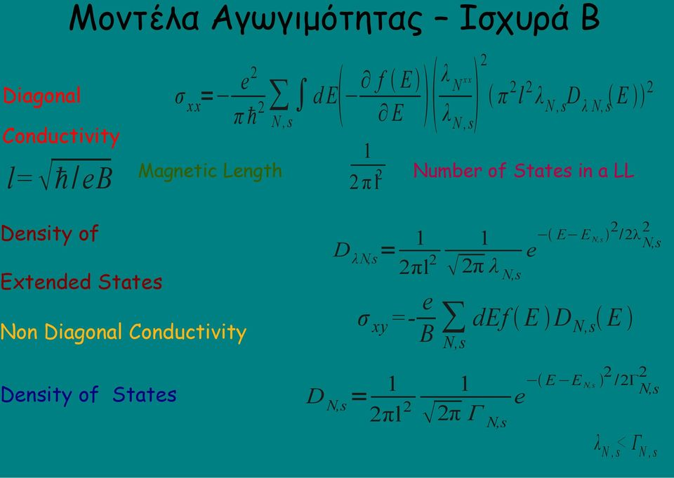 Conductivity Density of States 1 2 π l2 D λn,s = xx Number of States in a LL 1 2πl2 2 2 E E N,s