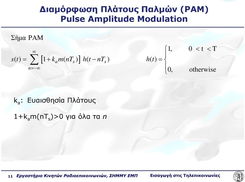 otherwise k a : Ευαισθησία Πλάτους 1+k a m(nt s )>0 για όλα τα n 11