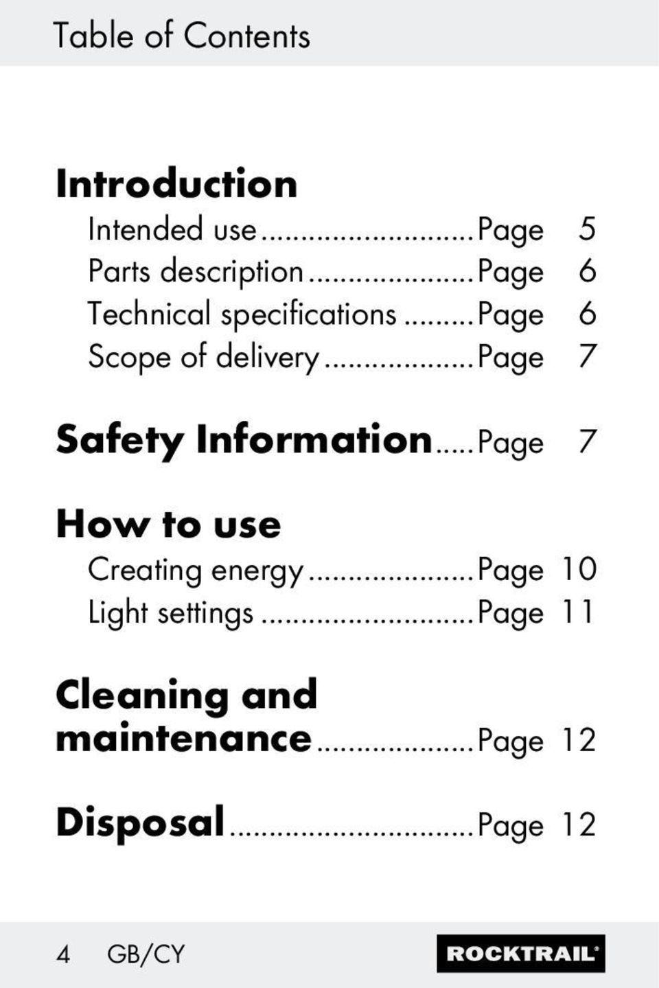 ..page 7 Safety Information...Page 7 How to use Creating energy.