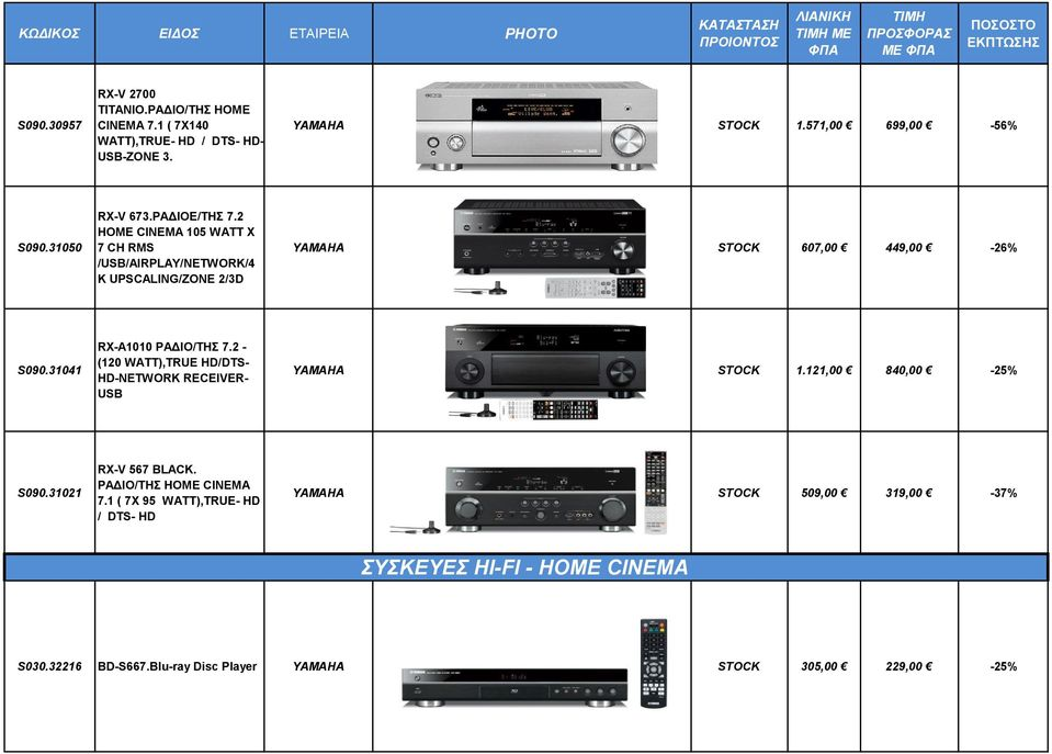 31041 RX-A1010 ΡΑΔΙΟ/ΤΗΣ 7.2 - (120 WATT),TRUE HD/DTS- HD-NETWORK RECEIVER- USB ΥΑΜΑΗA STOCK 1.121,00 840,00-25% S090.31021 RX-V 567 BLACK.