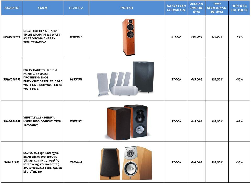 SUBWOOFER 55 WATT RMS. MISSION STOCK 449,00 199,00-56% S01EG00052 VERITASV2.1 CHERRY. HXEIΟ BIBΛΙΟΘΗΚΗΣ.