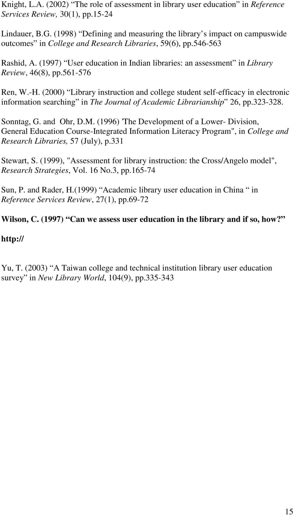 (1997) User education in Indian libraries: an assessment in Library Review, 46(8), pp.561-576 Ren, W.-H.