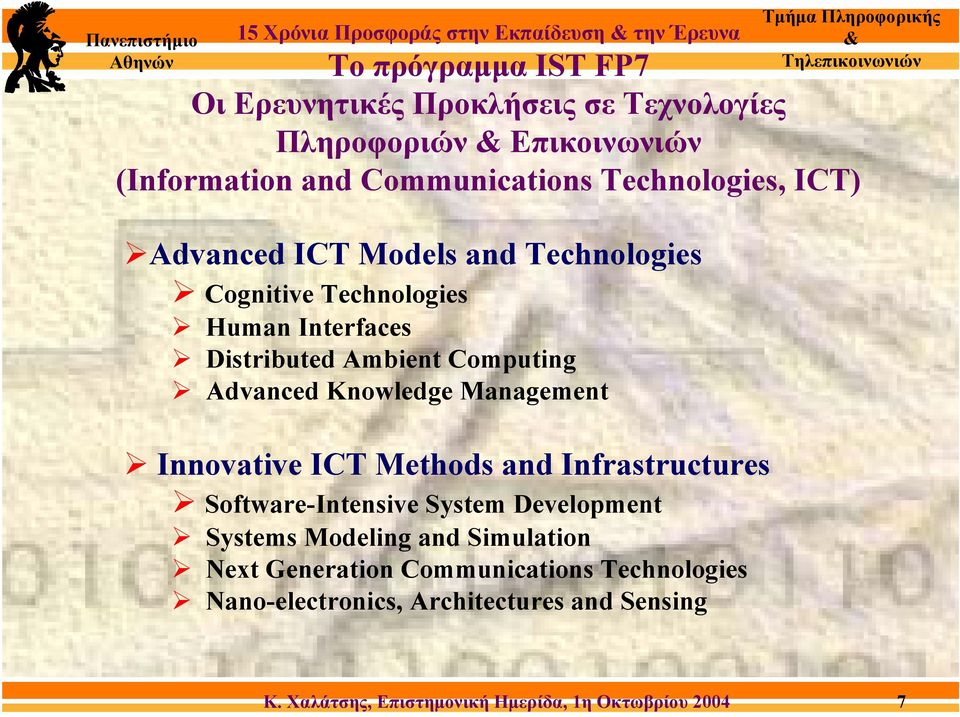 Interfaces Distributed Ambient Computing Advanced Knowledge Management Innovative ICT Methods and Infrastructures