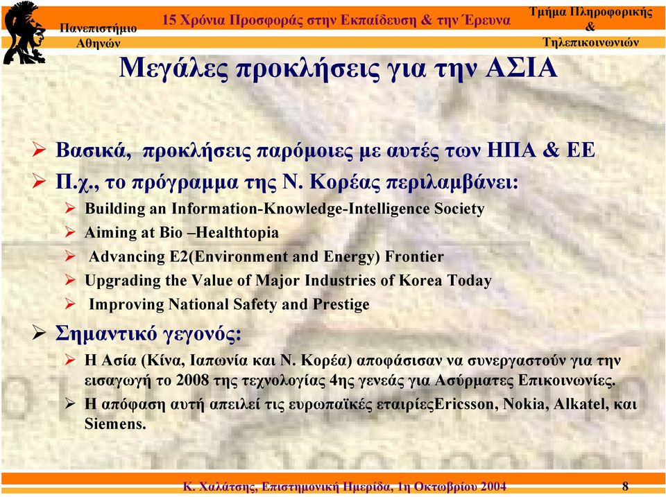 the Value of Major Industries of Korea Today Improving National Safety and Prestige Σηµαντικό γεγονός: Η Ασία (Κίνα, Ιαπωνία και Ν.