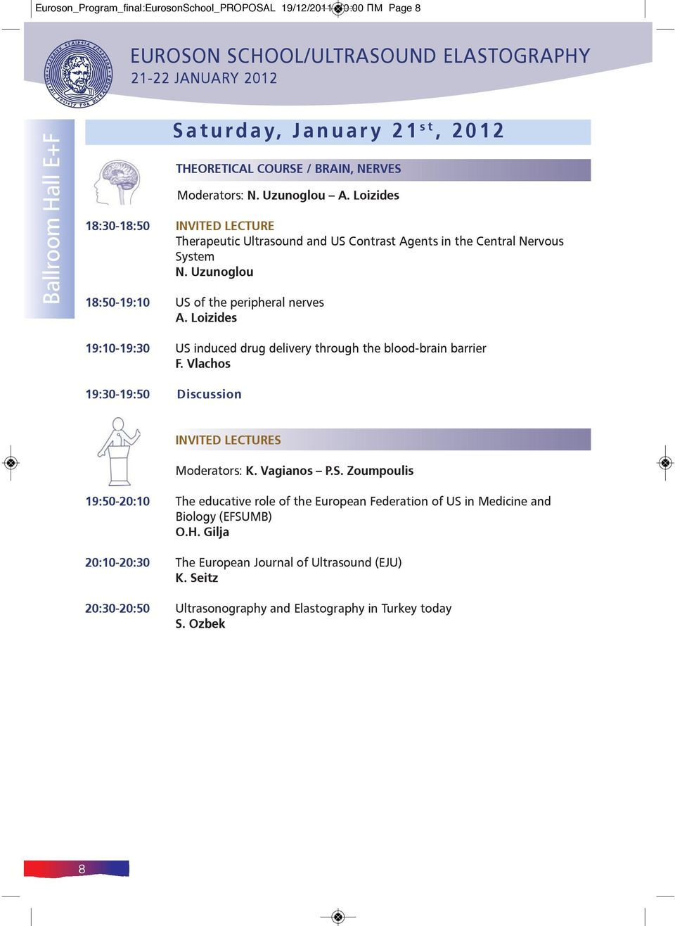 Loizides 19:10-19:30 US induced drug delivery through the blood-brain barrier F. Vlachos 19:30-19:50 Discussion INVITED LECTURES Moderators: K. Vagianos P.S. Zoumpoulis 19:50-20:10 The educative role of the European Federation of US in Medicine and Biology (EFSUMB) Ο.