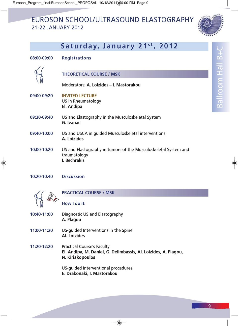 Ivanac 09:40-10:00 US and USCA in guided Musculoskeletal interventions A. Loizides 10:00-10:20 US and Elastography in tumors of the Musculoskeletal System and traumatology Ι.