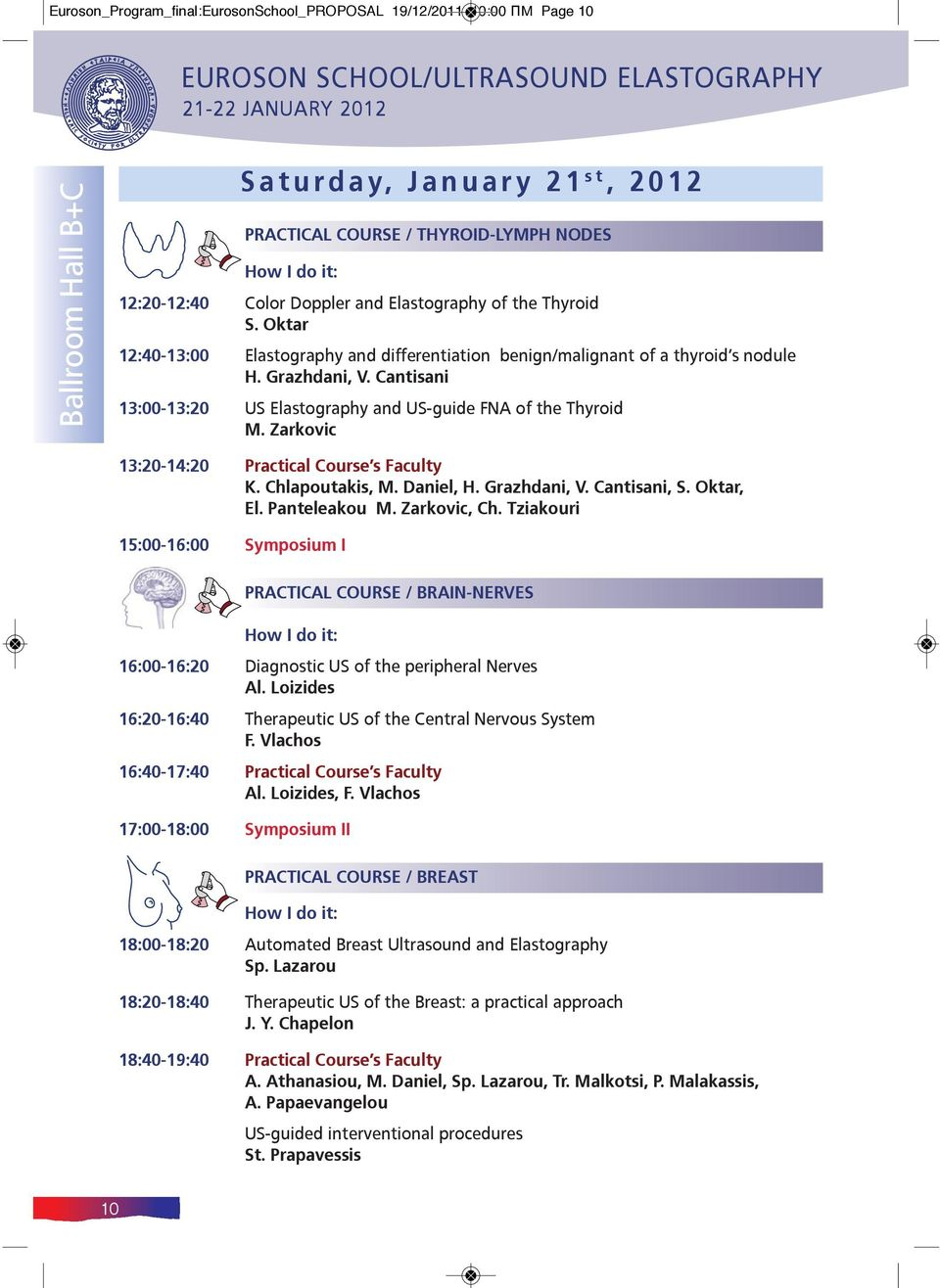 Cantisani 13:00-13:20 US Elastography and US-guide FNA of the Thyroid M. Zarkovic 13:20-14:20 Practical Course s Faculty K. Chlapoutakis, M. Daniel, H. Grazhdani, V. Cantisani, S. Oktar, El.