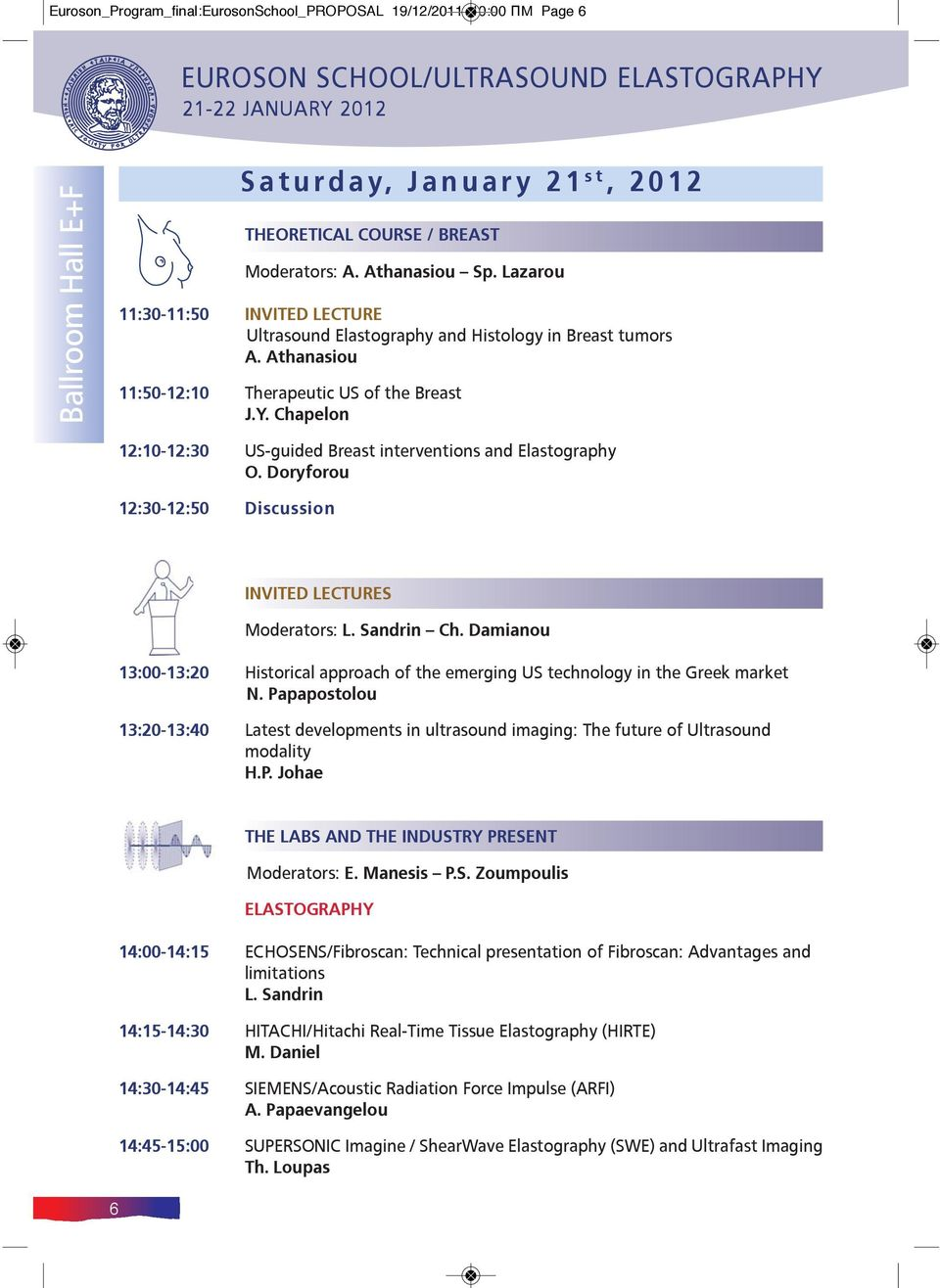 Chapelon 12:10-12:30 US-guided Breast interventions and Elastography O. Doryforou 12:30-12:50 Discussion INVITED LECTURES Moderators: L. Sandrin Ch.