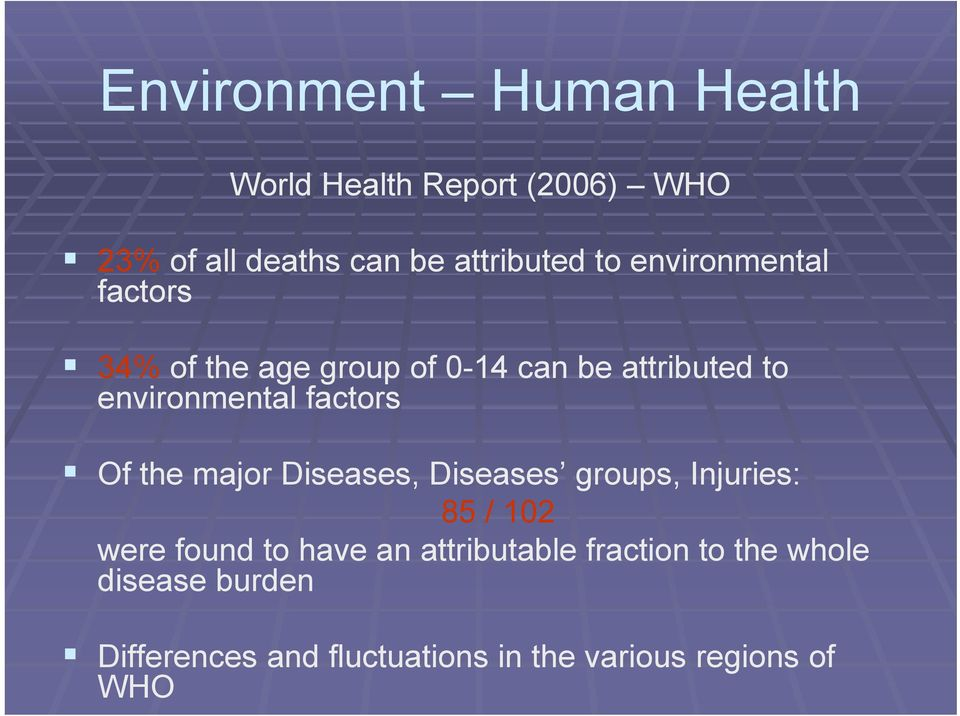 Of the major Diseases, Diseases groups, Injuries: 85 / 102 were found to have an attributable