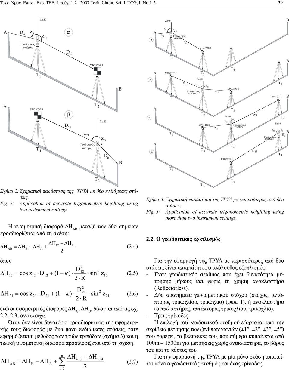 : pplication of accurate trigonometric heighting using two instrument settings. Η υψομετρική διαφορά ΔΗ ΑΒ μεταξύ των δύο σημείων προσδιορίζεται από τη σχέση: 1 1 (.4) όπου 1 1 cos 1 1 (1 ) sin 1 (.
