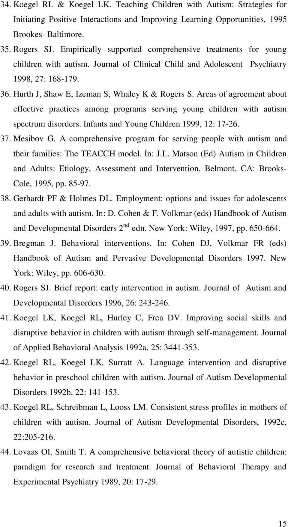 Hurth J, Shaw E, Izeman S, Whaley K & Rogers S. Areas of agreement about effective practices among programs serving young children with autism spectrum disorders.