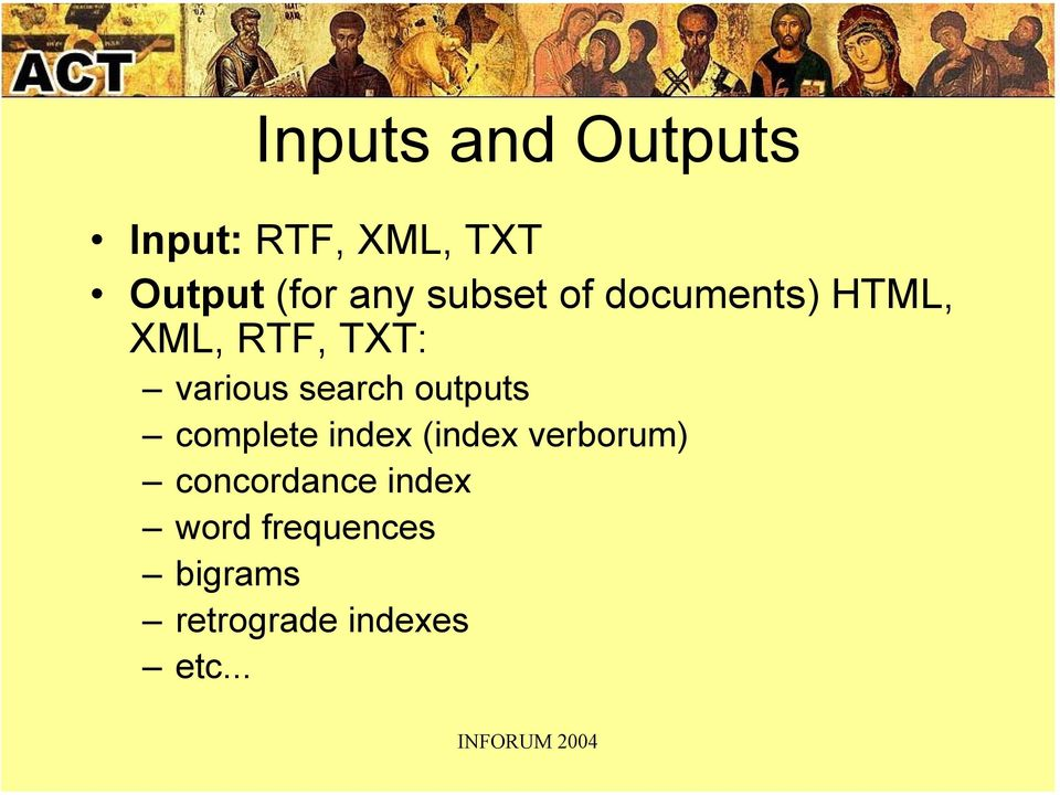 search outputs complete index (index verborum)