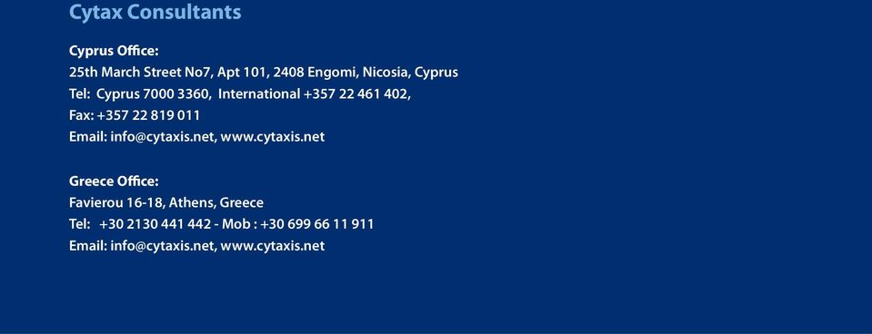 819 011 Email: info@cytaxis.