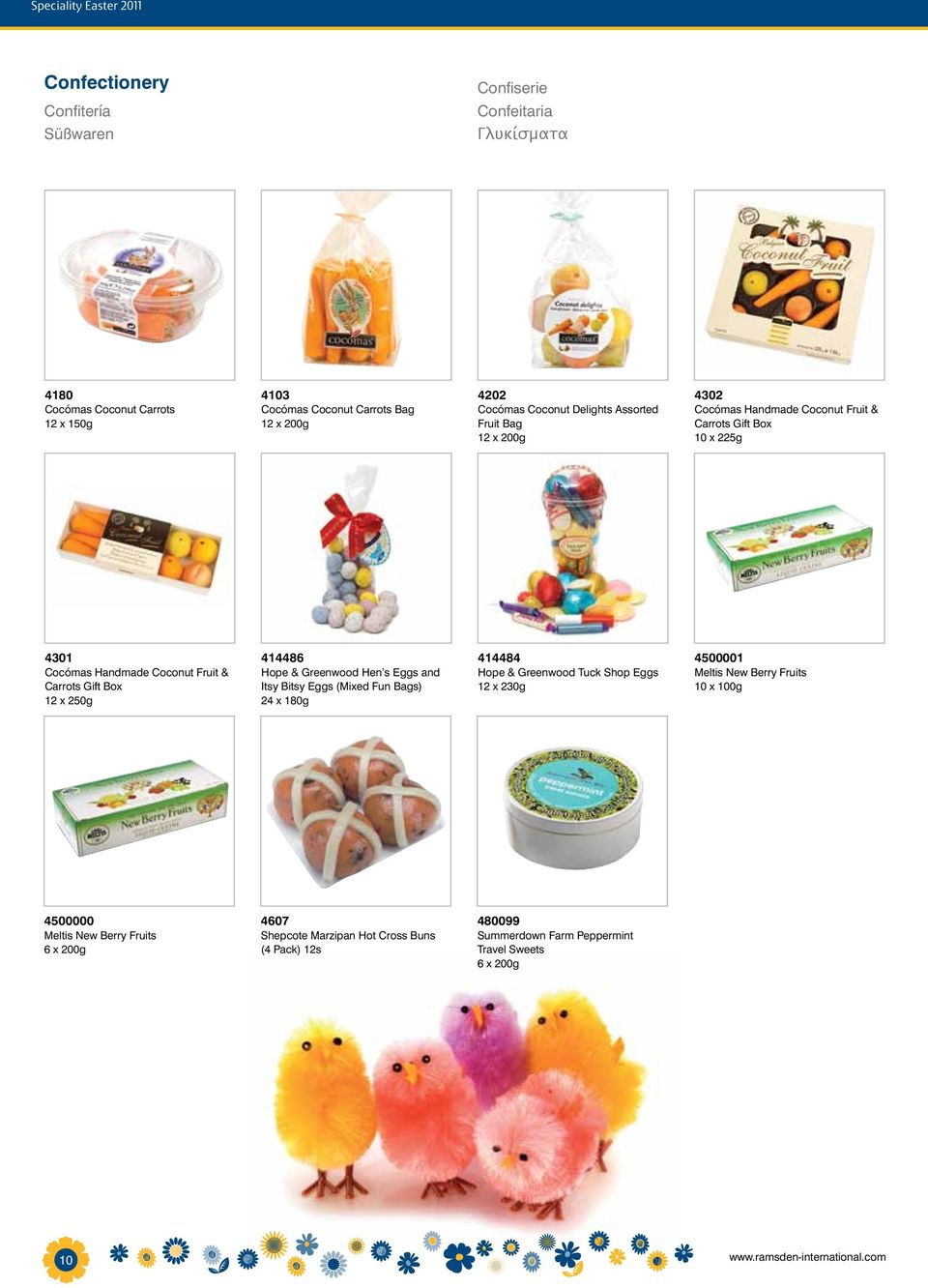 250g 414486 Hope & Greenwood Hen s Eggs and Itsy Bitsy Eggs (Mixed Fun Bags) 24 x 180g 414484 Hope & Greenwood Tuck Shop Eggs 12 x 230g 4500001 Meltis New Berry Fruits 10 x 100g