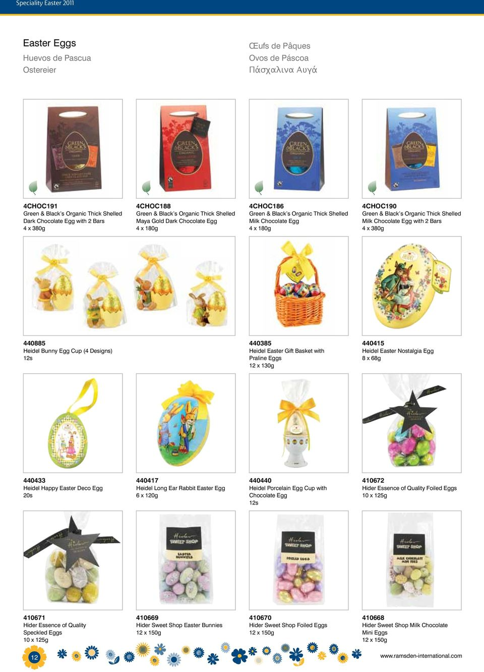 Shelled Milk Chocolate Egg with 2 Bars 4 x 380g 440885 Heidel Bunny Egg Cup (4 Designs) 12s 440385 Heidel Easter Gift Basket with Praline Eggs 12 x 130g 440415 Heidel Easter Nostalgia Egg 8 x 68g