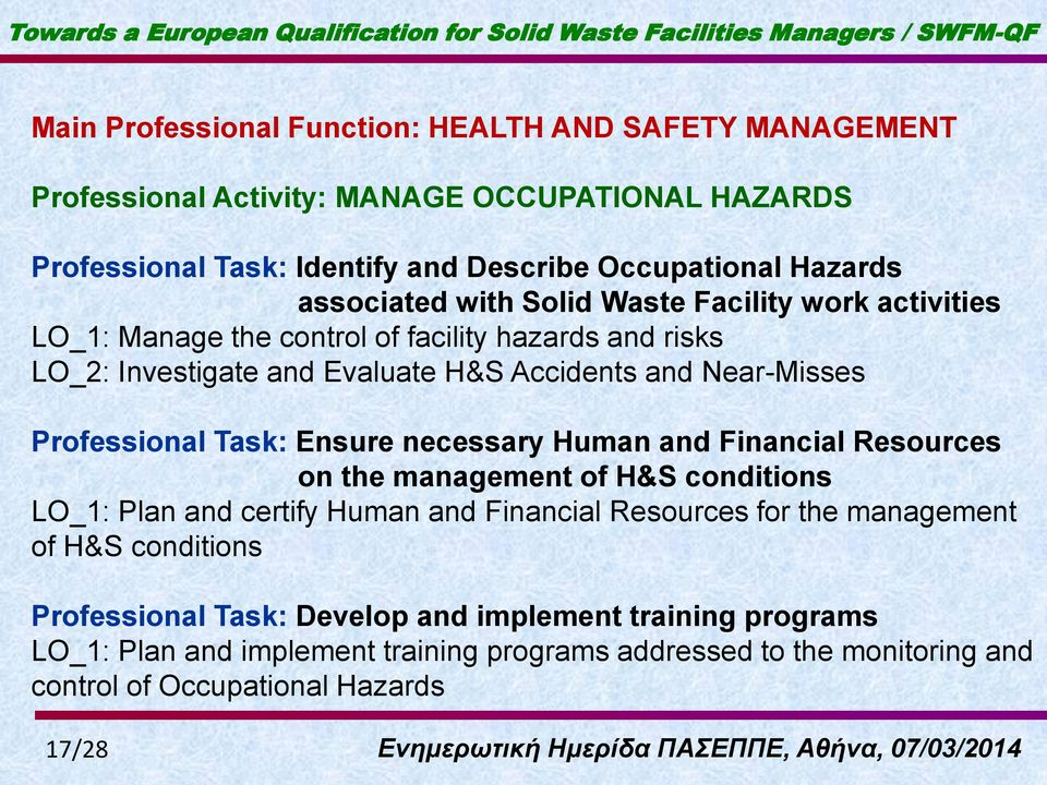 Professional Task: Ensure necessary Human and Financial Resources on the management of H&S conditions LO_1: Plan and certify Human and Financial Resources for the management