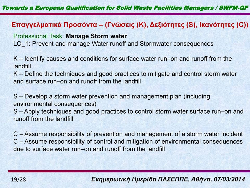 Develop a storm water prevention and management plan (including environmental consequences) S Apply techniques and good practices to control storm water surface run on and runoff from the landfill C