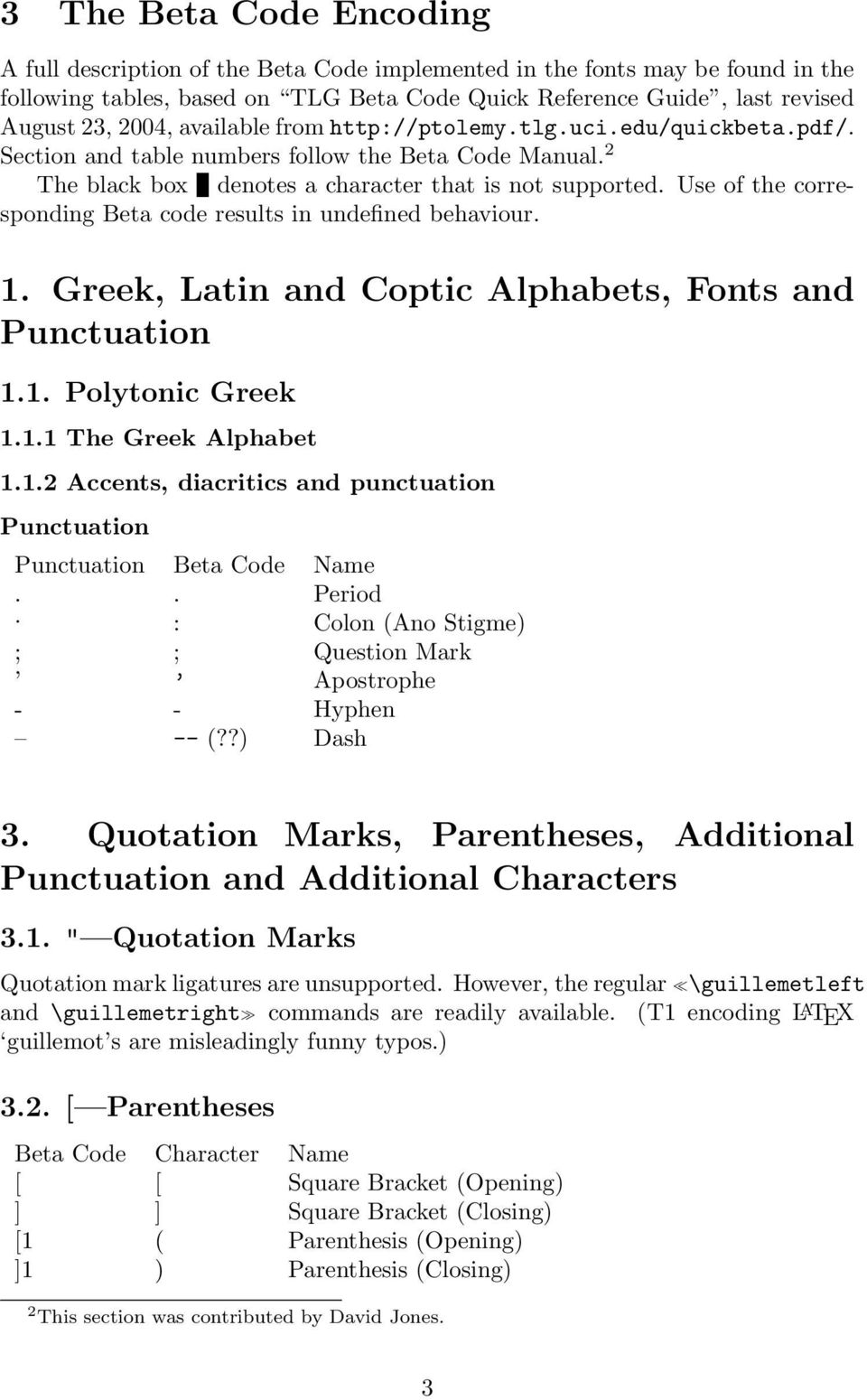 Use of the corresponding Beta code results in undefined behaviour. 1. Greek, Latin and Coptic Alphabets, Fonts and Punctuation 1.1. Polytonic Greek 1.1.1 The Greek Alphabet 1.1.2 Accents, diacritics and punctuation Punctuation Punctuation Beta Code Name.