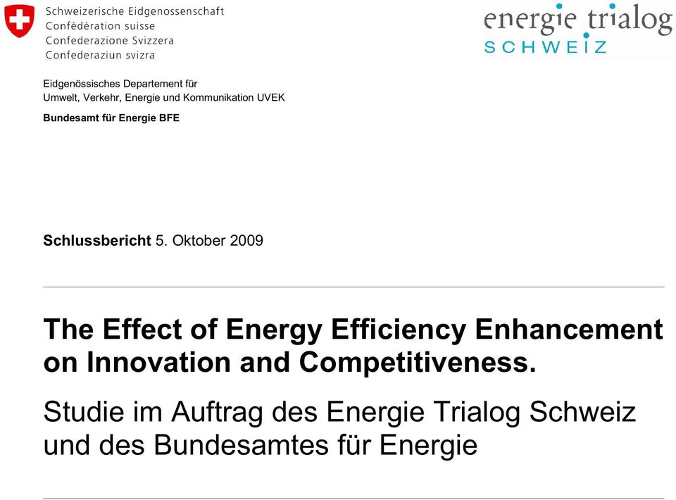 Oktober 2009 The Effect of Energy Efficiency Enhancement on Innovation and Competitiveness.