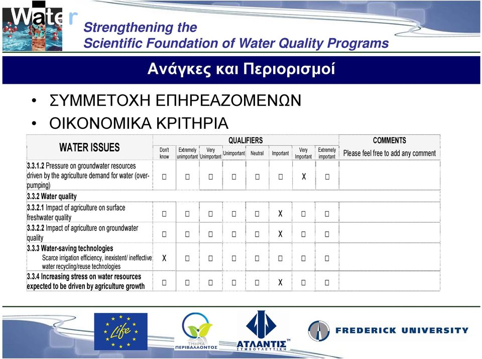 Important Very Important Extremely important x 3.3.2 Water quality 3.3.2.1 Impact of agriculture on surface freshwater quality x 3.3.2.2 Impact of agriculture on groundwater quality x 3.