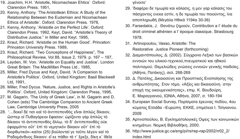 Oxford: Clarendon Press. 1992, Keyt, David. Aristotle s Theory of Distributive Justice. in Miller and Keyt. 1995, 22. Kraut, Richard. Aristotle on the Human Good.