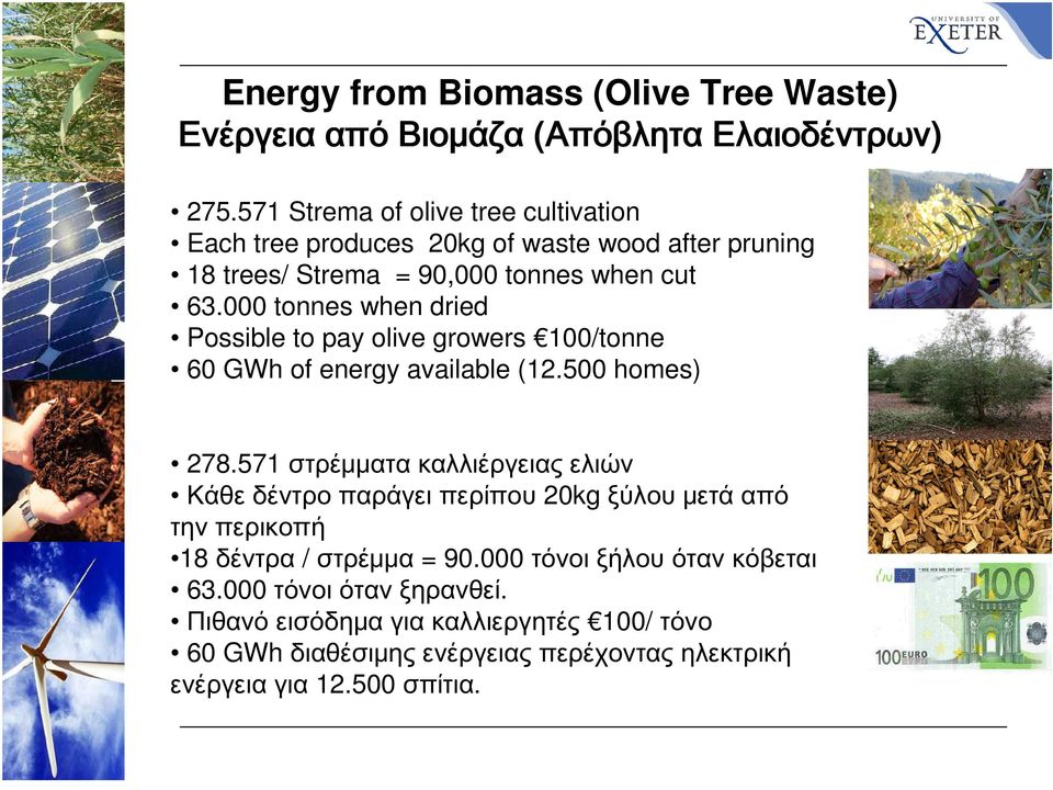 000 tonnes when dried Possible to pay olive growers 100/tonne 60 GWh of energy available (12.500 homes) 278.