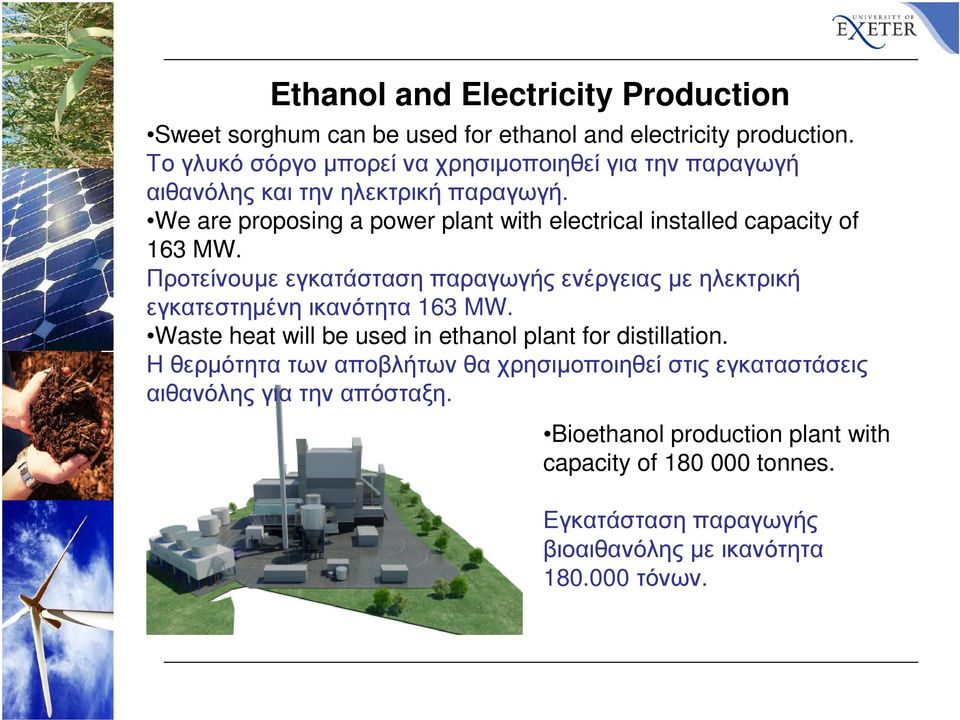 We are proposing a power plant with electrical installed capacity of 163 MW.