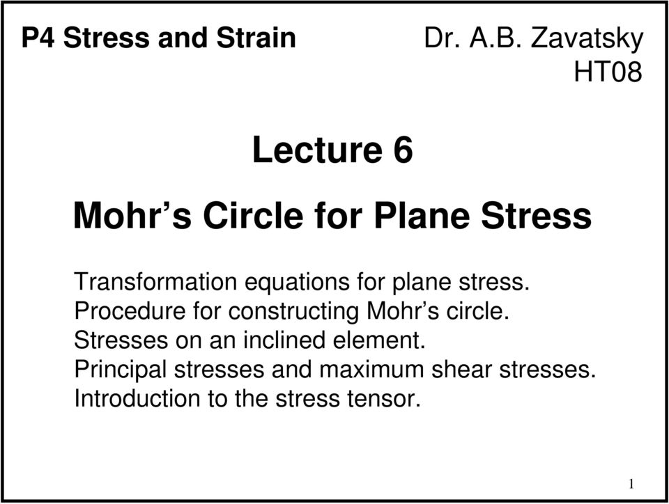 equations for plane stress. Procedure for constructing Mohr s circle.
