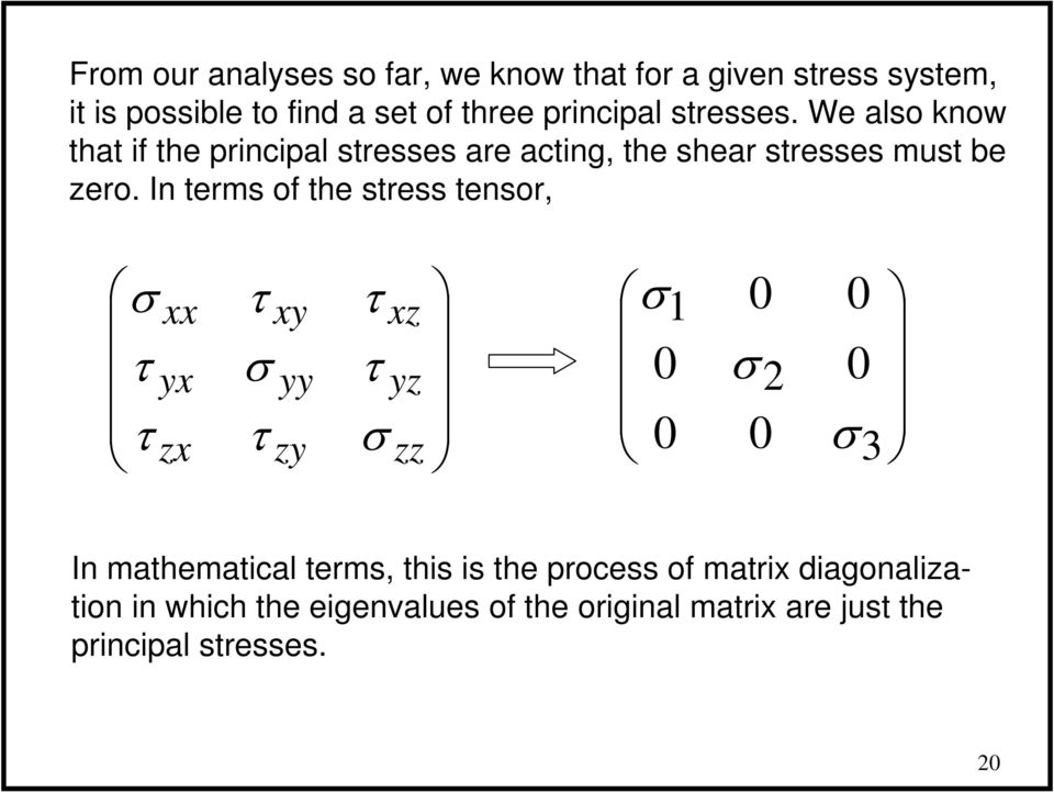 We also know that if the principal stresses are acting, the shear stresses must be zero.