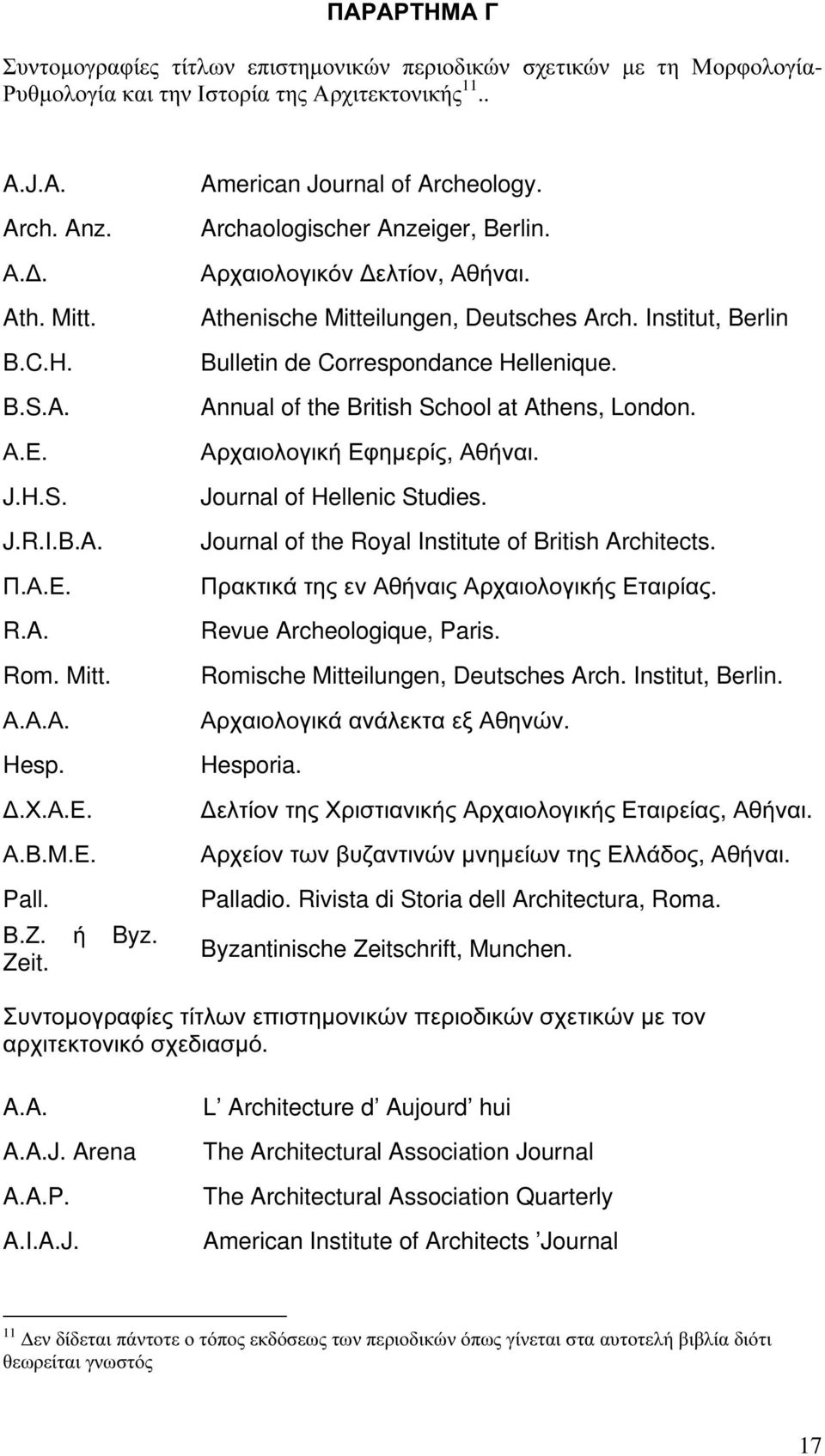 Athenische Mitteilungen, Deutsches Arch. Institut, Berlin Bulletin de Correspondance Hellenique. Annual of the British School at Athens, London. Αρχαιολογική Εφηµερίς, Αθήναι.