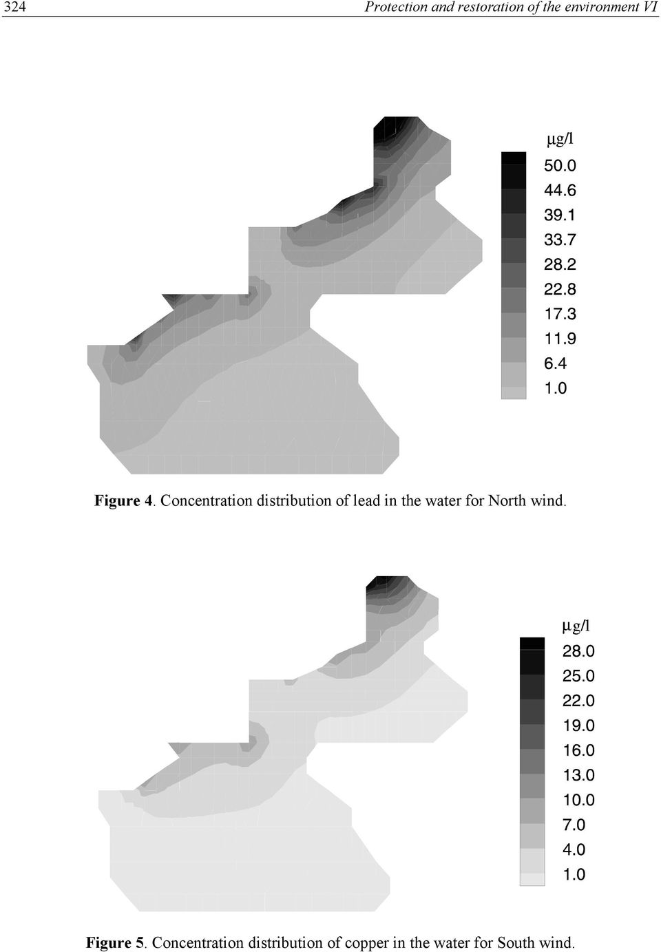Concentration distribution of lead in the water