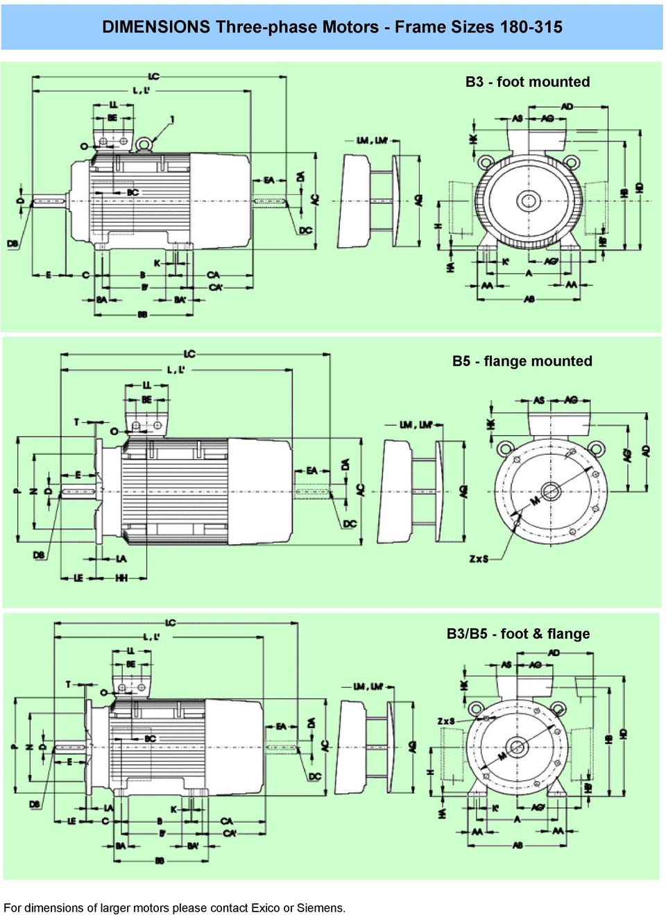 B3/B5 - foot & flange For dimensions of