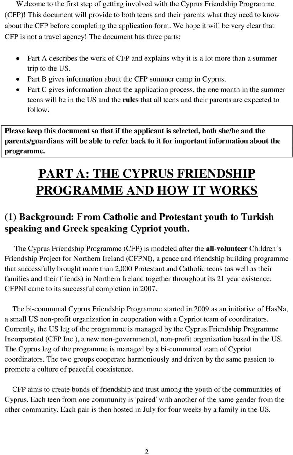 The document has three parts: Part A describes the work of CFP and explains why it is a lot more than a summer trip to the US. Part B gives information about the CFP summer camp in Cyprus.