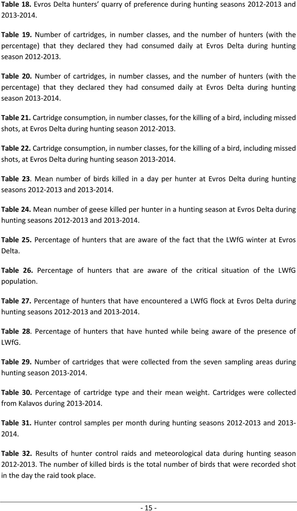 Number of cartridges, in number classes, and the number of hunters (with the percentage) that they declared they had consumed daily at Evros Delta during hunting season 2013-2014. Table 21.