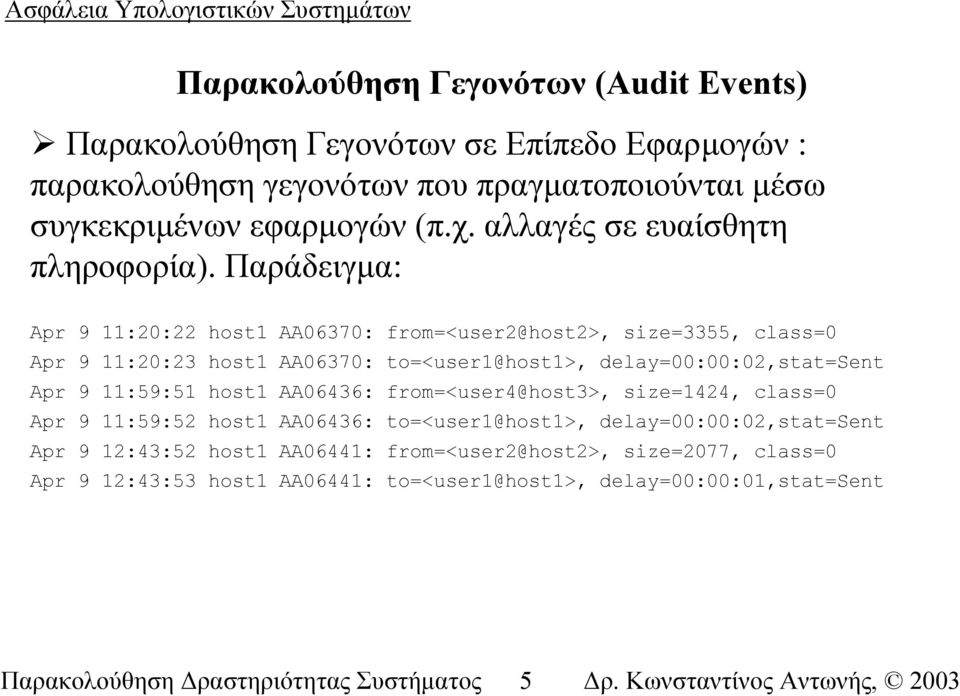 Παράδειγµα: Apr 9 11:20:22 host1 AA06370: from=<user2@host2>, size=3355, class=0 Apr 9 11:20:23 host1 AA06370: to=<user1@host1>, delay=00:00:02,stat=sent Apr 9 11:59:51