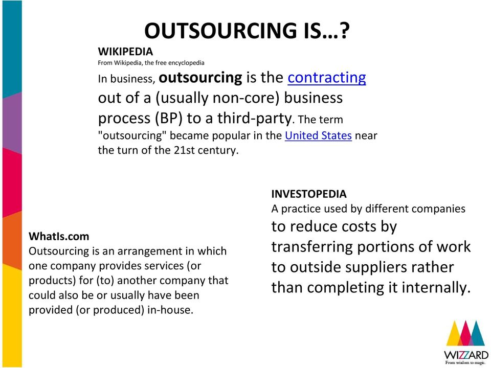 "third-party. The term ""outsourcing"" became popular in the United States near the turn of the 21st century. WhatIs."