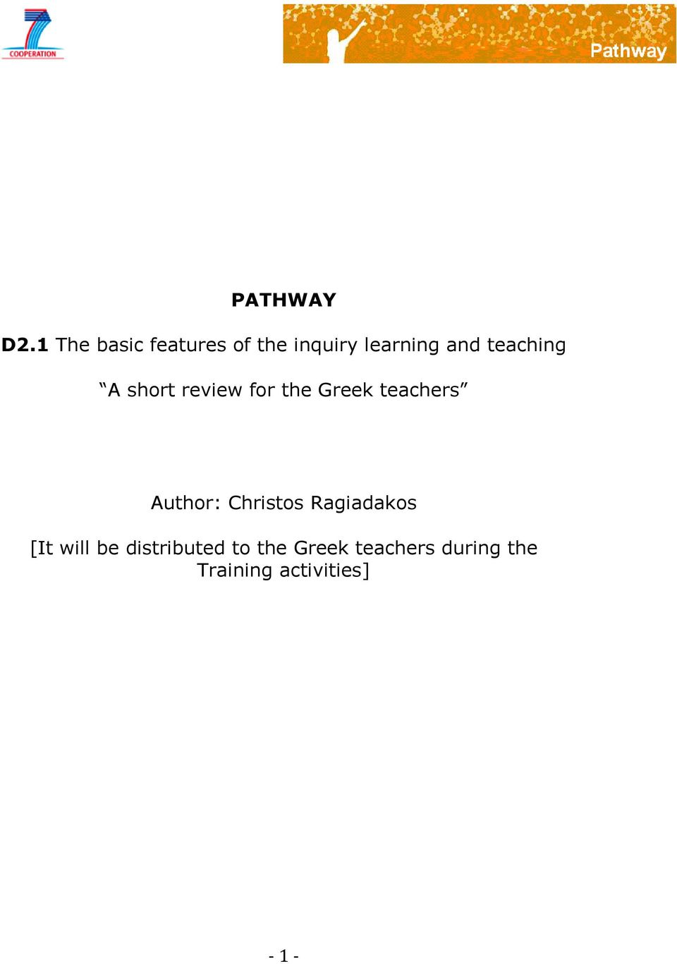 teaching A short review for the Greek teachers Author: