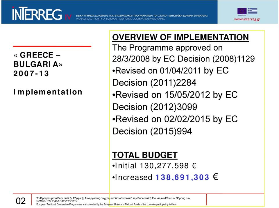 (2011)2284 Revised on 15/05/2012 by EC Decision i (2012)3099 Revised on