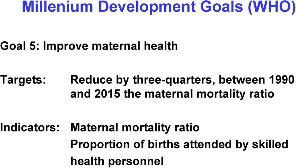 2015 the maternal mortality ratio Indicators: Maternal