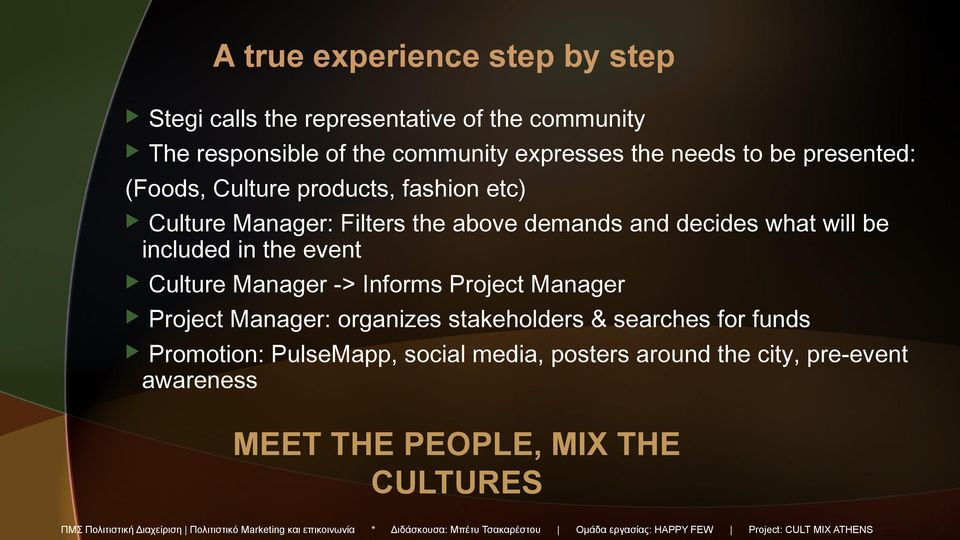 Culture Manager -> Informs Project Manager Project Manager: organizes stakeholders & searches for funds Promotion: PulseMapp, social media,