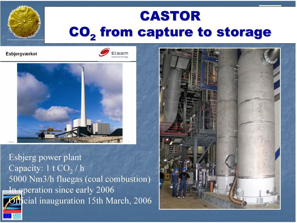 Capacity: 1 t CO 2 / h 5000 Nm3/h fluegas (coal