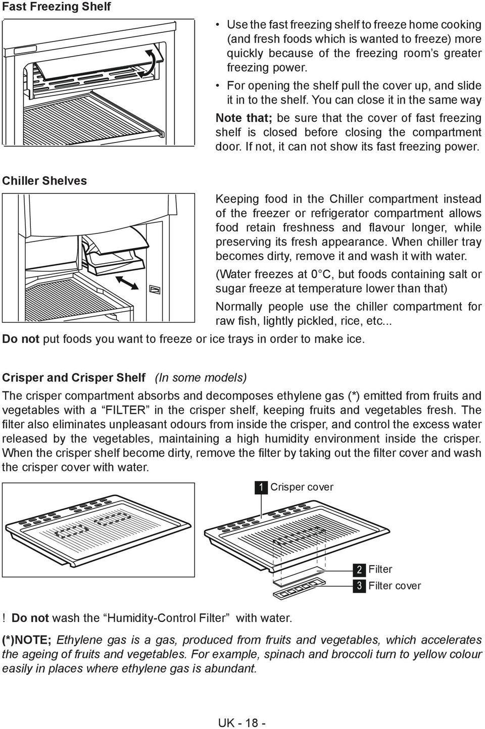 You can close it in the same way Note that; be sure that the cover of fast freezing shelf is closed before closing the compartment door. If not, it can not show its fast freezing power.
