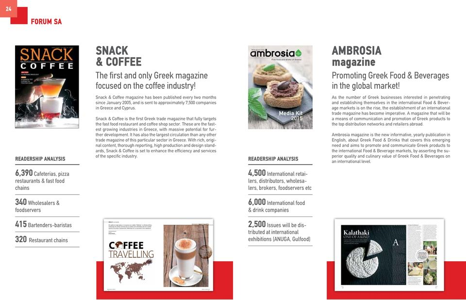 Snack & Coffee is the first Greek trade magazine that fully targets the fast food restaurant and coffee shop sector.