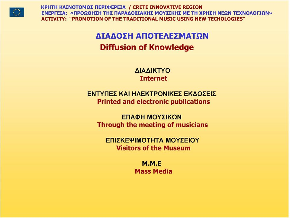 electronic publications ΕΠΑΦΗ ΜΟΥΣΙΚΩΝ Through the meeting of